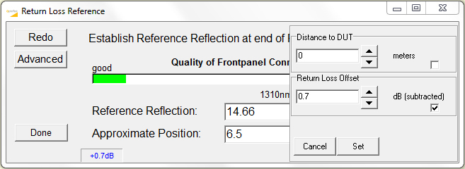 Figure 7: OPL-PRO 930 reference pop-up showing advanced options.