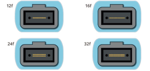 Illustrations of MTP/MPO 12, 16, 24 and 32 fiber connector end faces
