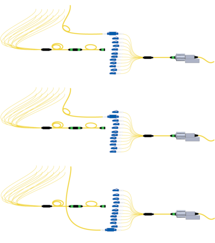 Illustrations showing how to connect the simplex connectors to the launch cord
