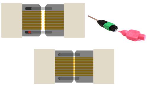 Illustrations showing how dirt can impede proper mating of fiber optic connectors.