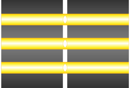 Illustration showing how core dips prevent the fiber cores from physically mating when two connectors are mated